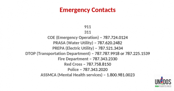 Emergency Contacts for Hurricane Maria & Earthquake in Mexico