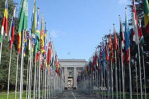 Flags in front of United Nations building